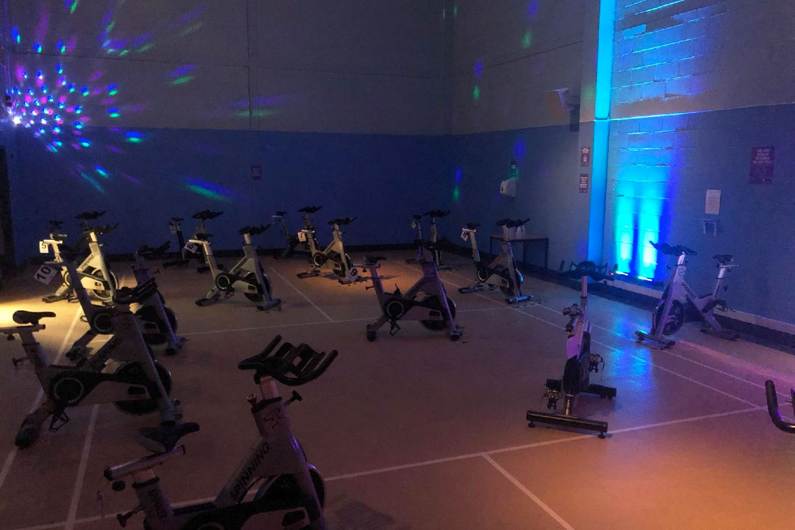 Spin studio with disco lights